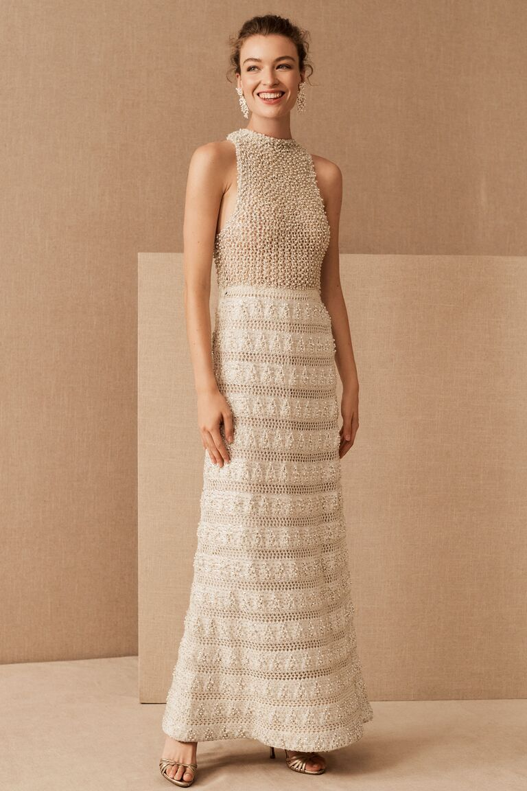 Vintage beaded and heavy-weight crochet sheath wedding dress with racerback