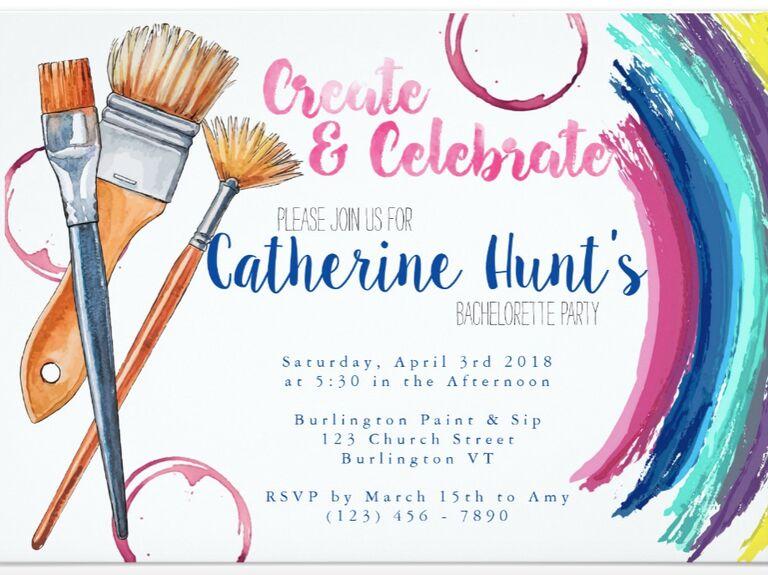 create & celebrate paintin bachelorette party invite