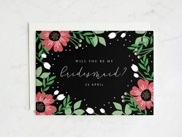black and red floral bridesmaid proposal card