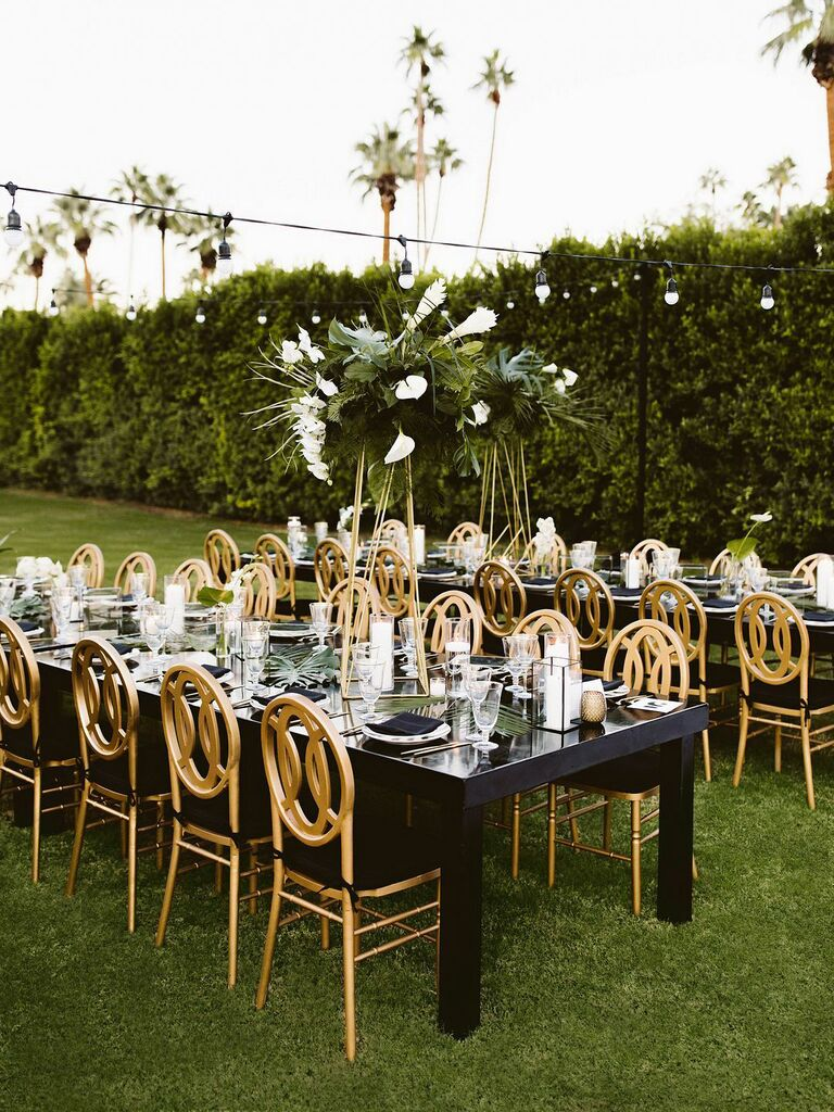 Fall wedding ideas black, white and gold