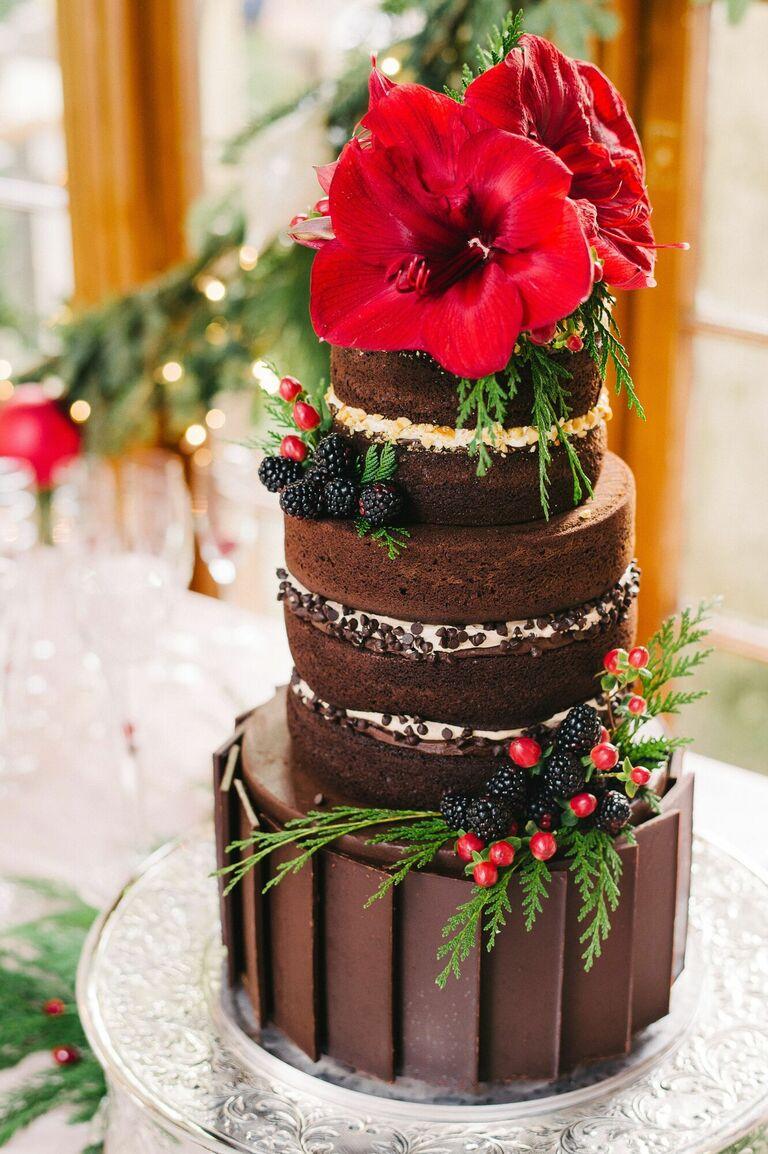 Chocolate cake with amaryllis blooms