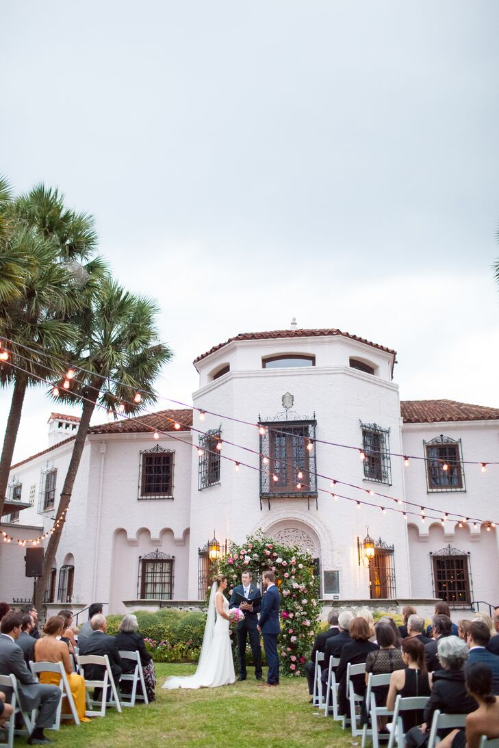 """""""I wrote the entire ceremony and my brother-in-law, the officiant, added personal notes and jokes,"""" Alicia says. """"Ian and I wrote our own vows and it was the most important and probably the most memorable part of the wedding experience."""""""