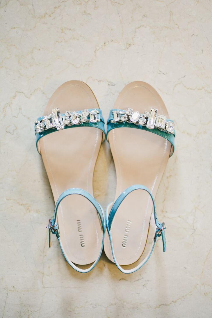 """""""I paired my dress with Miu Miu bejeweled flats in my favorite color, turquoise,"""" Shannon says. """"They are a fun shoe that I can dress up and even wear with jeans."""""""