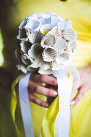 Paper Flower Bouquet with White Ribbon Tie