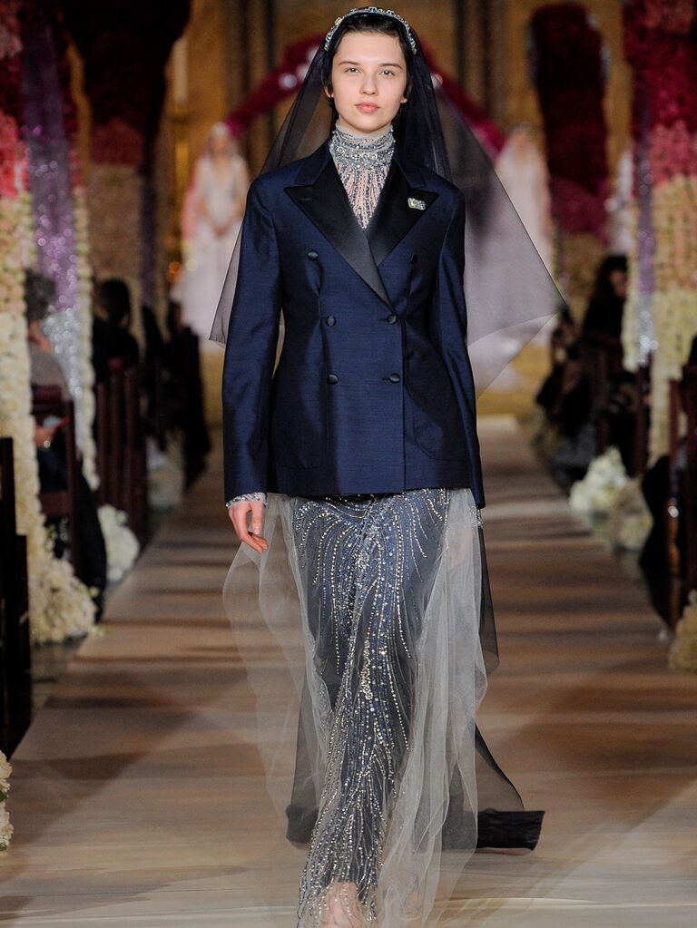 Reem Acra Spring 2020 Bridal Collection beaded bridal look with navy suit jacket