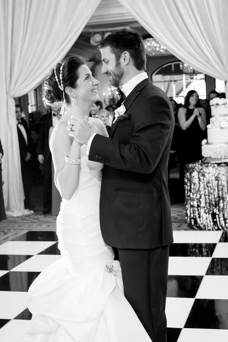 First Dance on Checkered Dance Floor at DC Reception