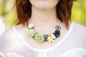 DIY Colorful Old Broach Bridesmaid Necklaces