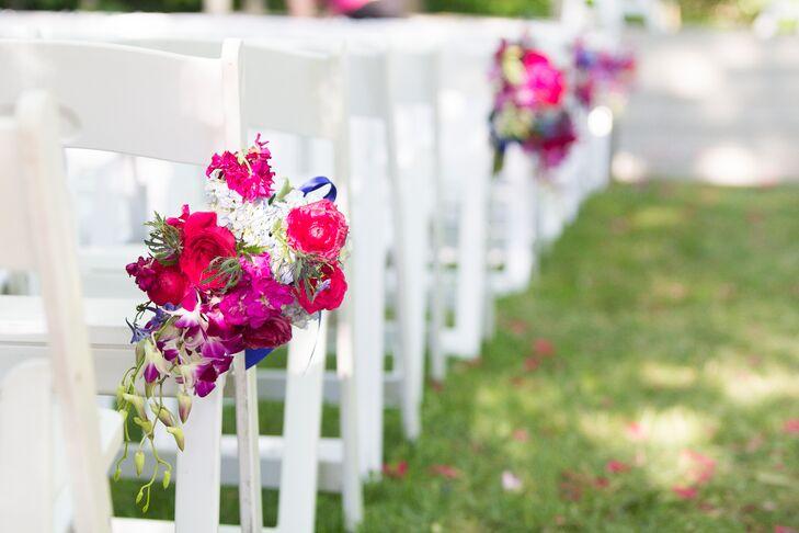 Vibrant Fuchsia Fresh Flower Aisle Markers