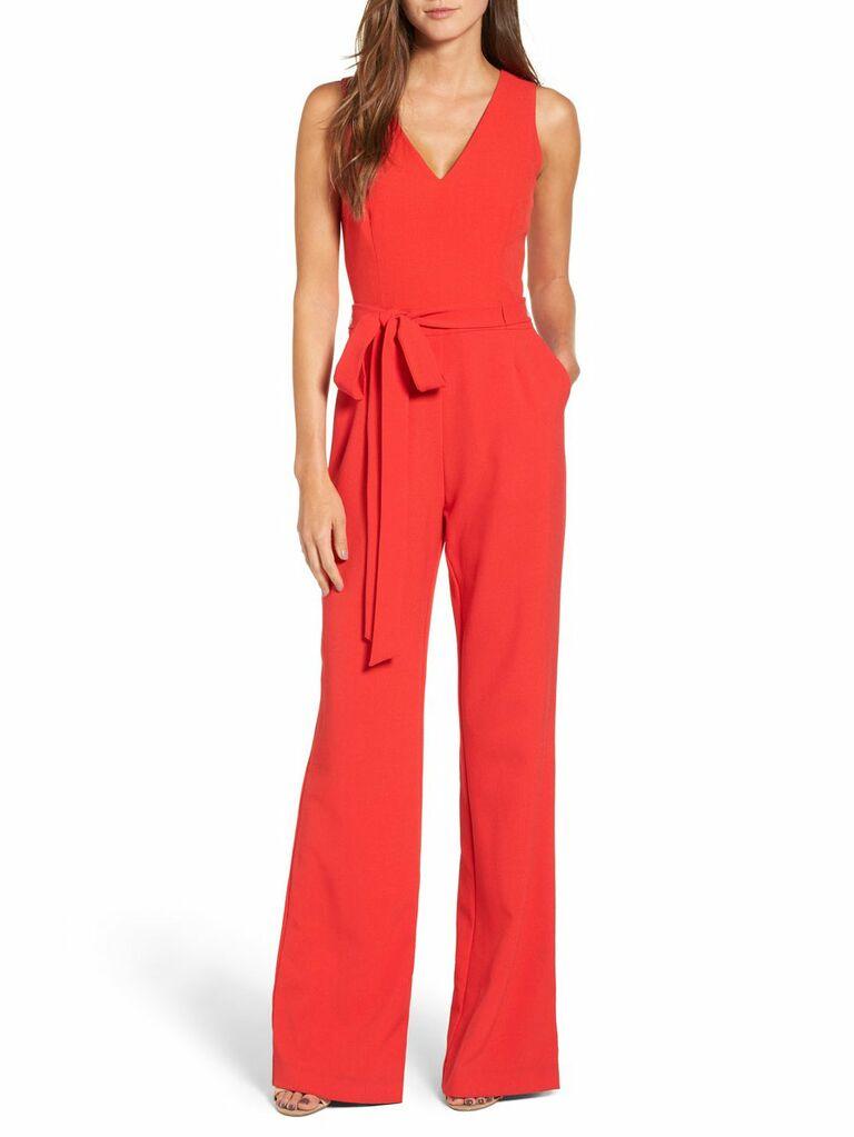 wide-legged poppy red jumpsuit