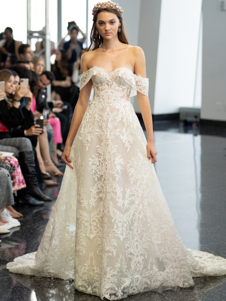berta strapless corseted off the shoulder lace gown