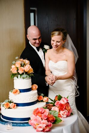 Coral Rose-Accented Wedding Cake