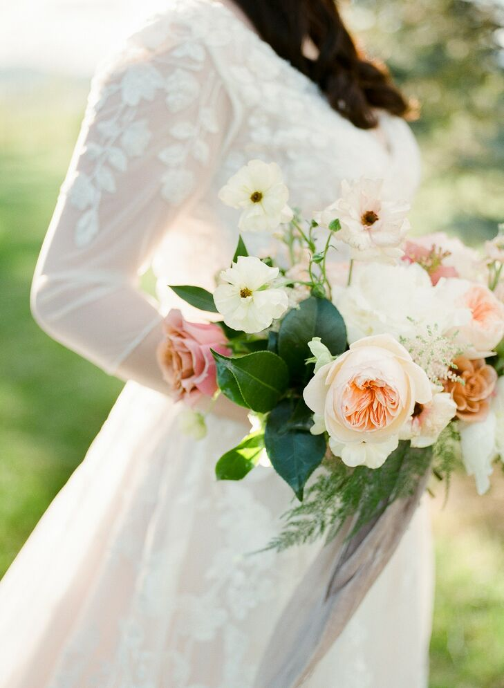 Romantic Bouquet with Garden Roses, White Flowers and Leaves