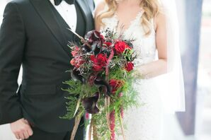 Black Forest Calla Lily Bouquet with Feathers