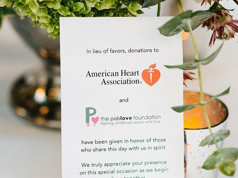 how to honor loved one at wedding charitable donation card
