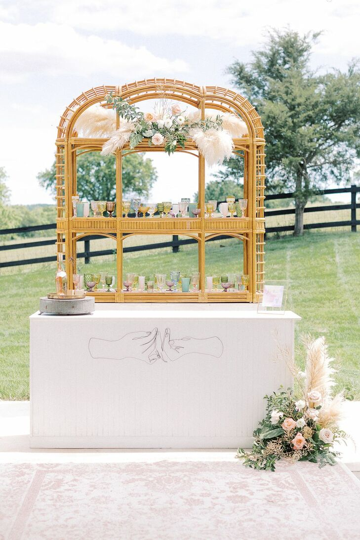 Bohemian Bar for Microwedding at The Barn at Willow Brook in Leesburg, Virginia