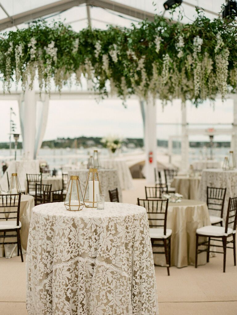 Victorian lace tablecloths at vintage wedding reception