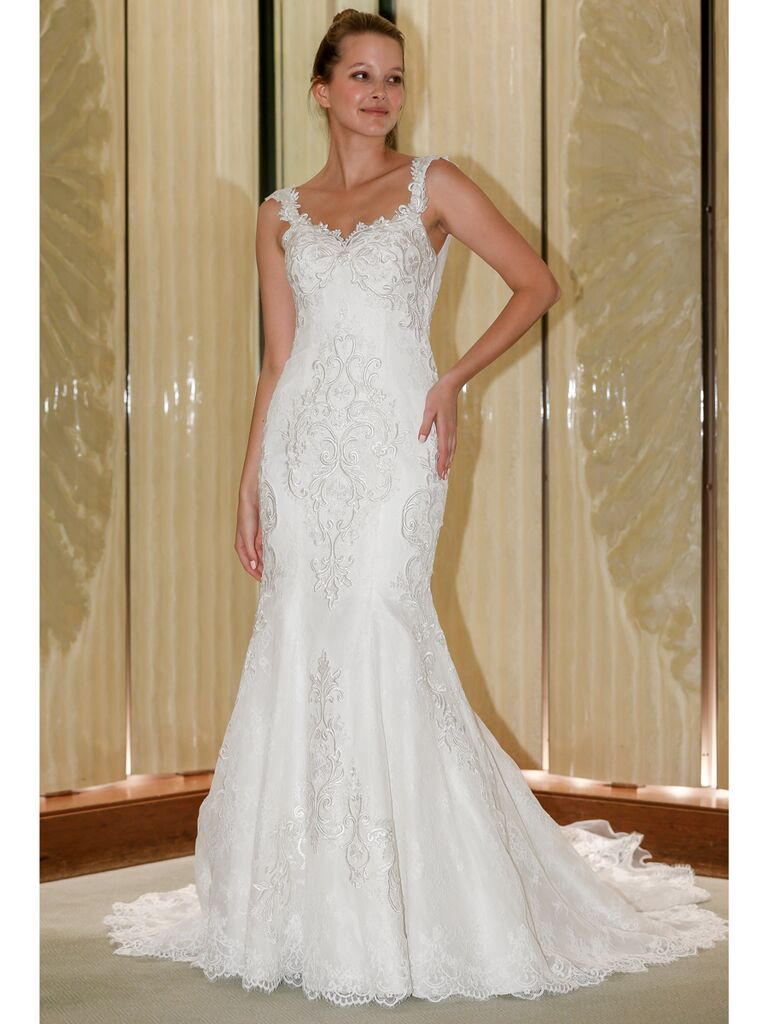 Randy Fenoli Fall 2019 Bridal Collection embroidered fit and flare wedding dress with embellished straps