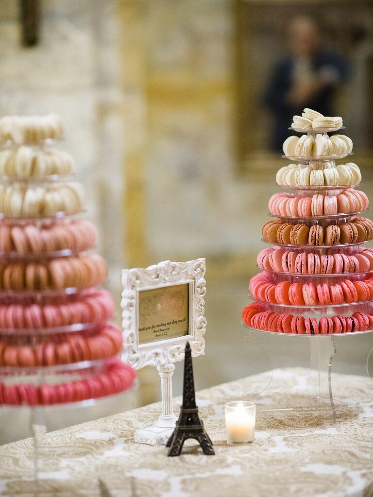 pink and white macaron wedding dessert display