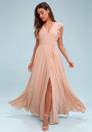 Lulus Crescendo Blush Wrap Maxi Dress V-Neck Bridesmaid Dress