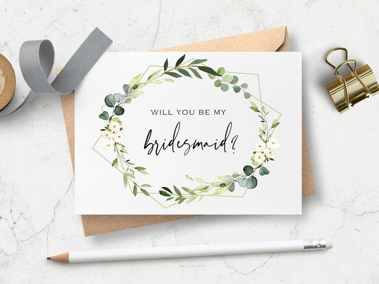 will you be my bridesmaid proposal card with greenery