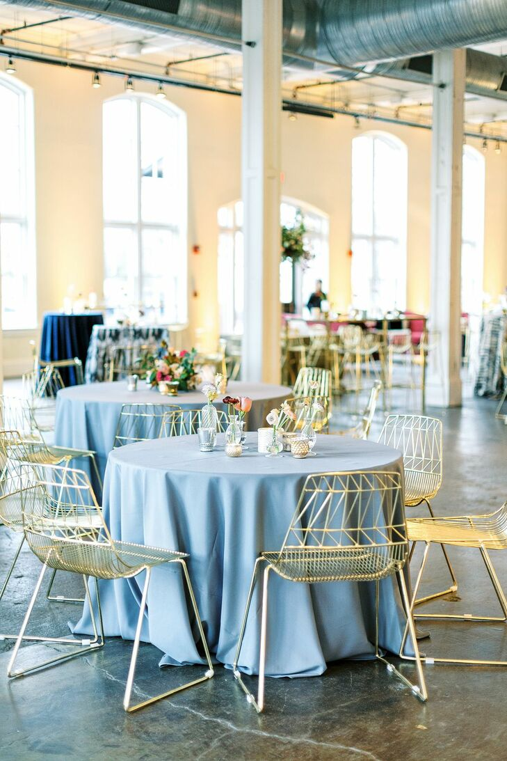 Blue-and-Gold Reception Decor  at 701 Whaley in Columbia, South Carolina