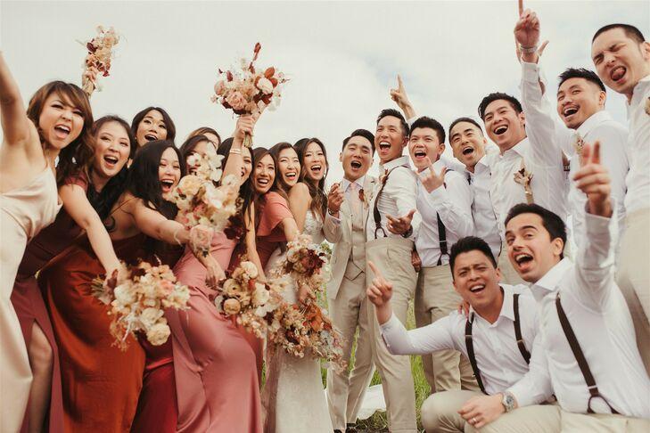 Wedding Party Cheering at Coastal California Wedding