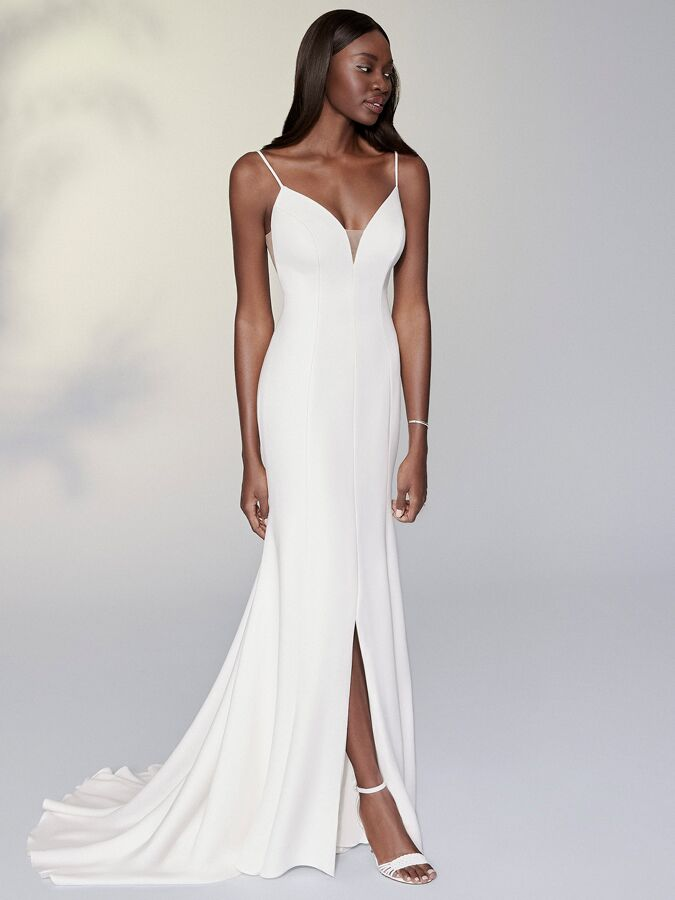 Justin Alexander Signature strapless stretch crepe fit-and-flare wedding dress
