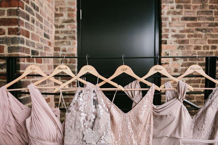 Mismatched Dusty-Rose Bridesmaid Dresses