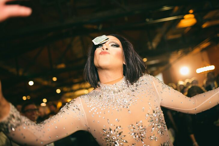 Drag Queen at Wedding at Ovation in Chicago, Illinois