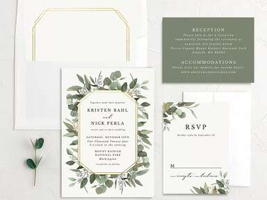 'Reception,' 'Accommodations' and info in minimal white type on forest green background