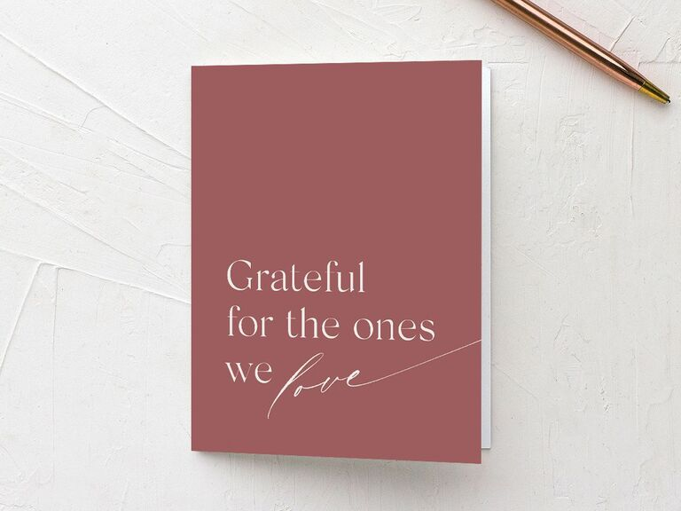 Bold pink bridal shower thank-you card