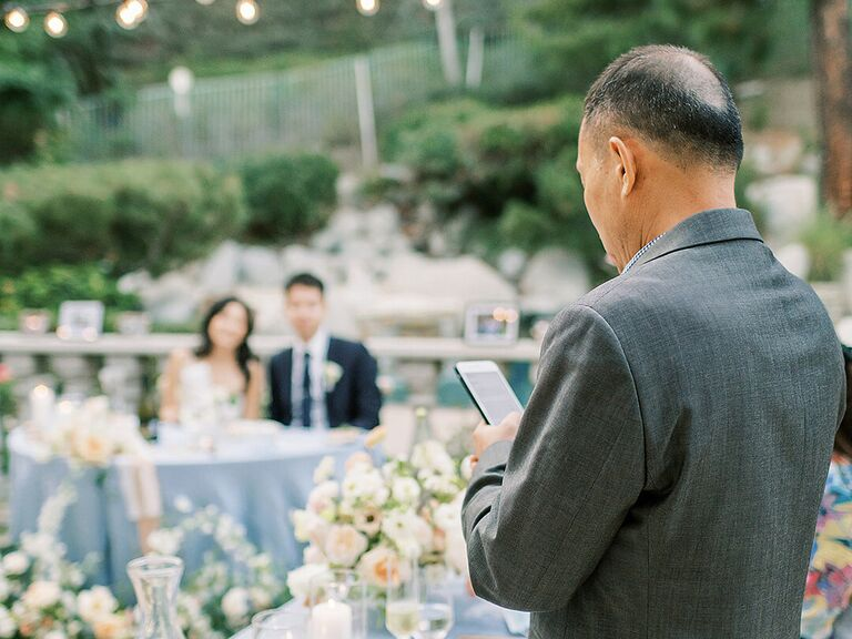 Father of the bride speech during wedding reception.