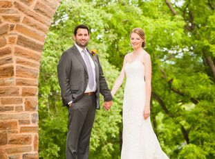 College sweethearts Reagan Sayles (29 and a physical therapist) and Dan Carroll (29 and a law student) exchanged vows in front of 120 guests in Clinto