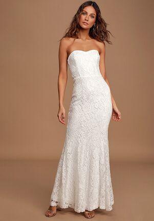 Lulus Always Be There White Lace Strapless Mermaid Maxi Dress Mermaid Wedding Dress