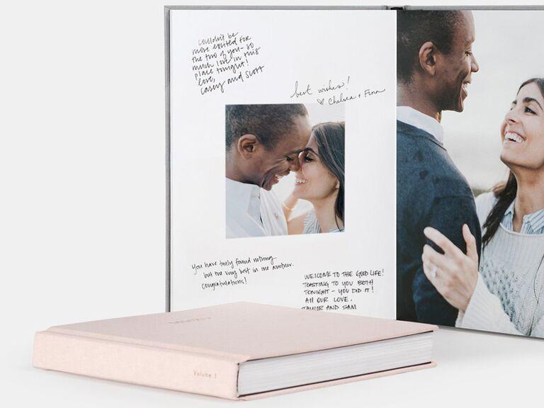 artifact uprising traditional light pink wedding guest book idea