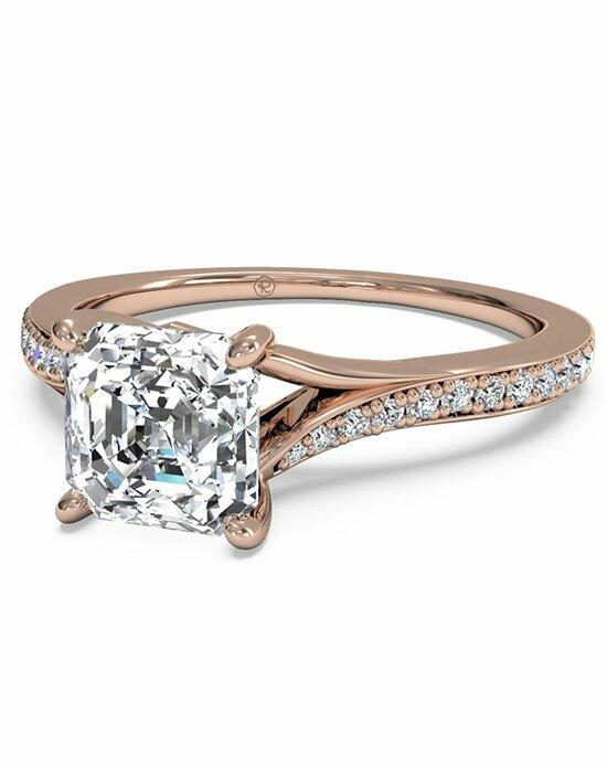 Ritani Asscher Cut Modern Bypass Micropave Diamond Band Engagement Ring in 18kt Rose Gold (0.19 CTW) Engagement Ring photo