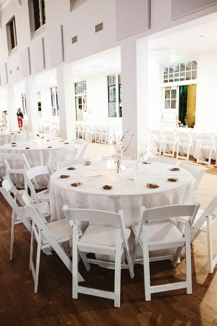 Round Reception Tables at Modern and Minimal Wedding in San Diego, California