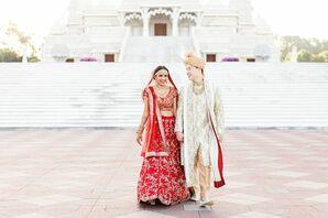 Bride and Groom with Traditional Hindu Wedding Fashion