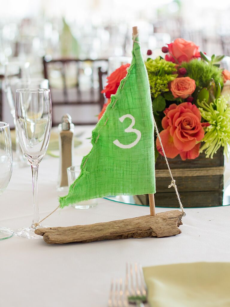 DIY driftwood sailboat table numbers