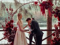 couple fall wedding lake