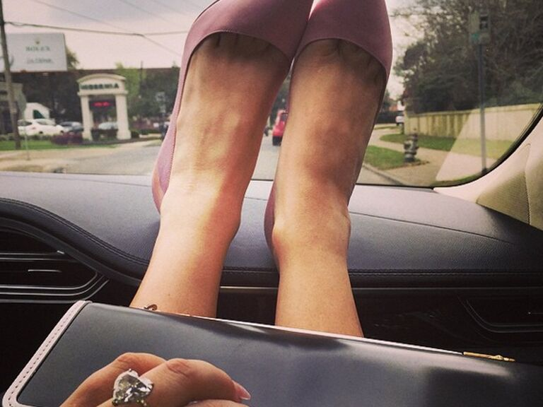Lady Gaga takes a photo of her heels and engagement ring after her best friend's wedding