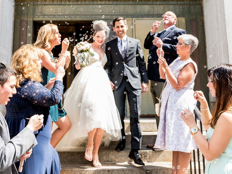 City Hall wedding recessional with bubbles