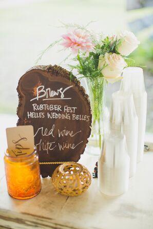 Rustic Wooden Slab Drink Menu at Reception