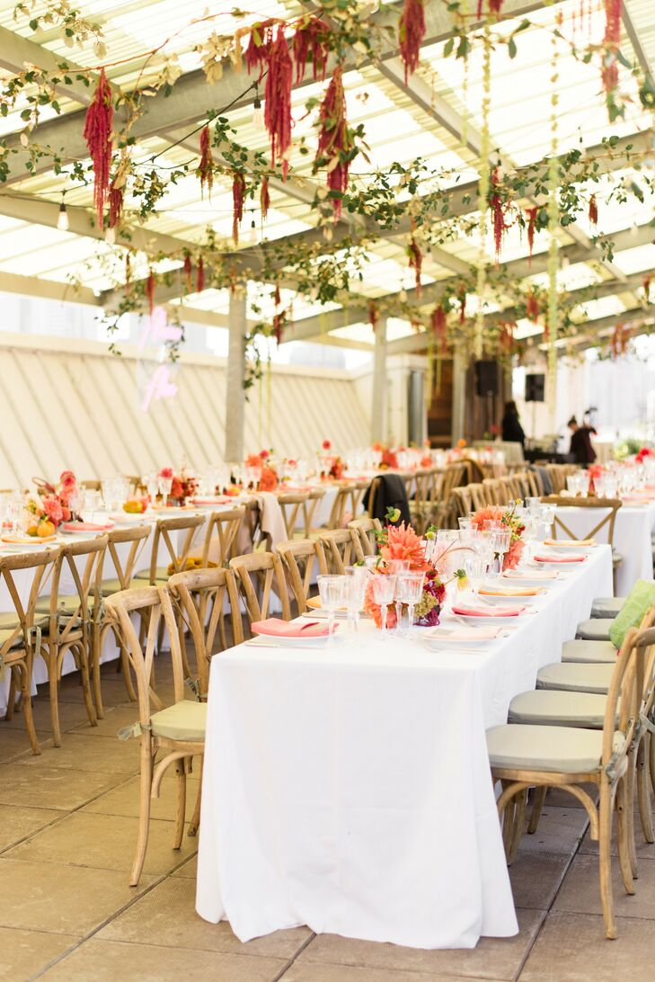 Colorful Reception Table at Rooftop Garden Wedding in Brooklyn
