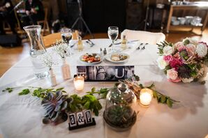 Succulent and Votive Candle Centerpieces with Typographic Table Numbers