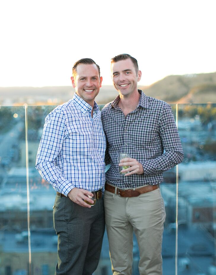 Before the wedding, Paul's parents held a two-hour cocktail hour instead of a formal reception so that guests had an opportunity to mingle. The Vortex Bar had a gorgeous panoramic view of Rapid City to welcome guests to their hometown.