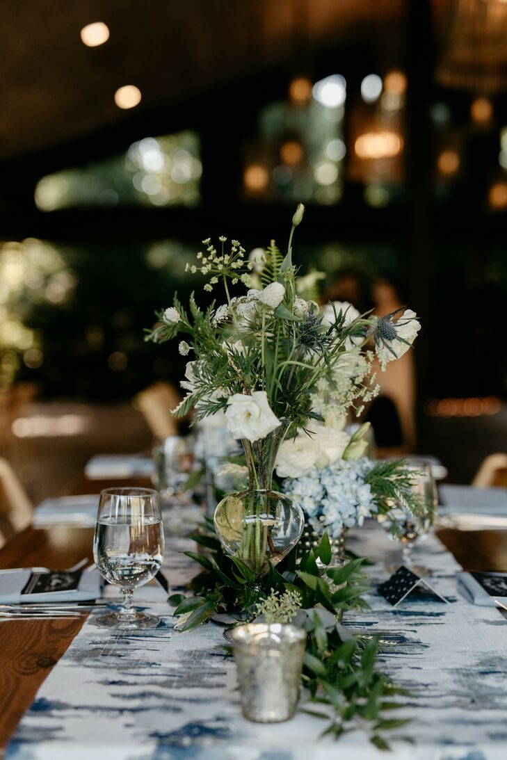 Wildflower and Greenery Centerpieces at Rustic North Carolina Wedding