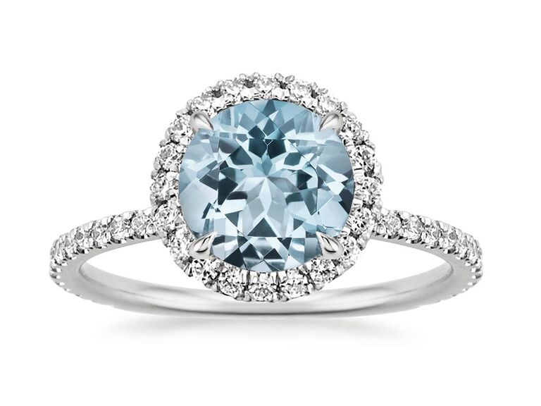 brilliant earth round aquamarine silver engagement ring with diamonds