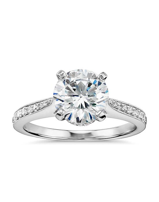 Monique Lhuillier Fine Jewelry Tapered Milgrain Diamond Collar Engagement Ring Engagement Ring photo