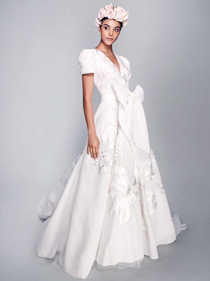 Marchesa V-neck short sleeve wedding dress